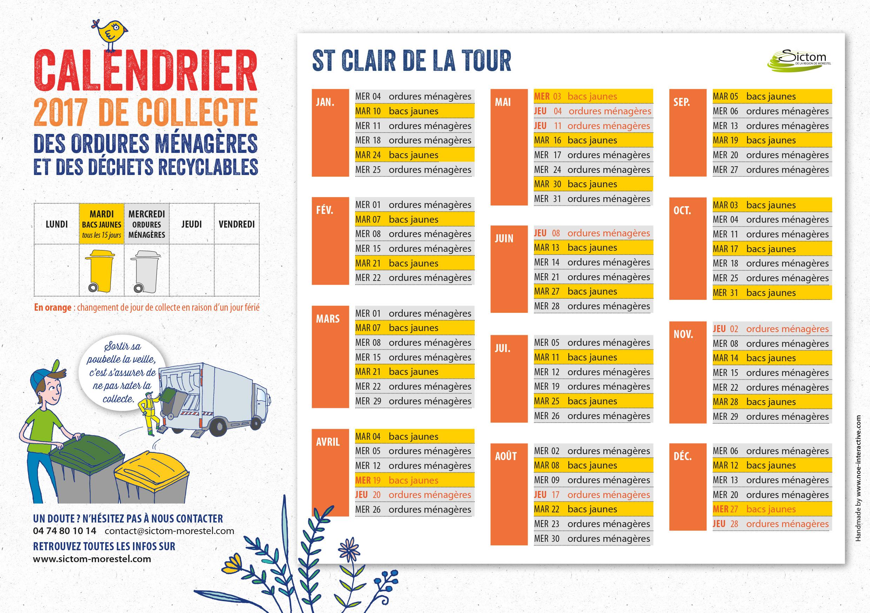 Calendrier Sictom.Calendrier Sictom Mairie De Saint Clair De La Tour