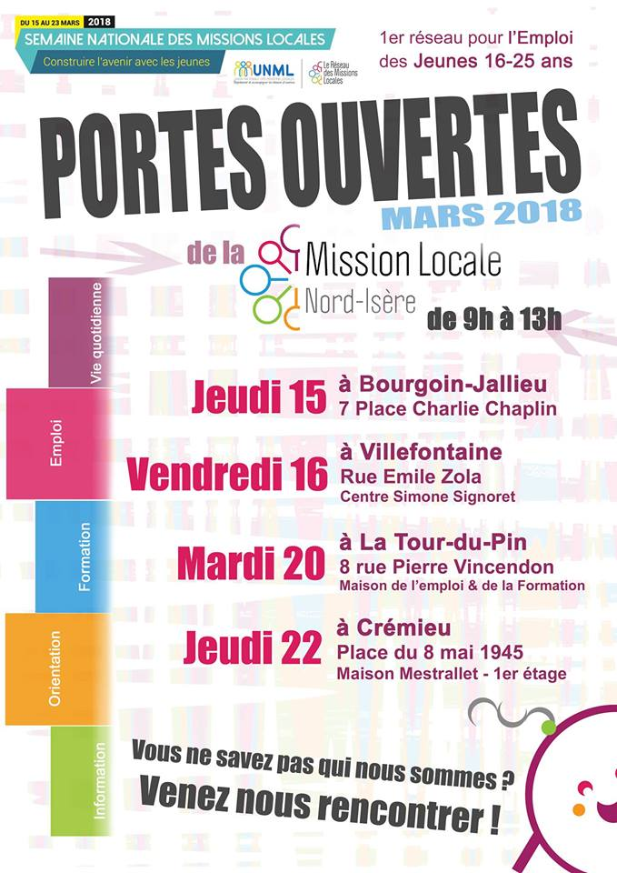 Affiche portes ouvertes mission locale ni mairie de - Mission locale portes de provence ...