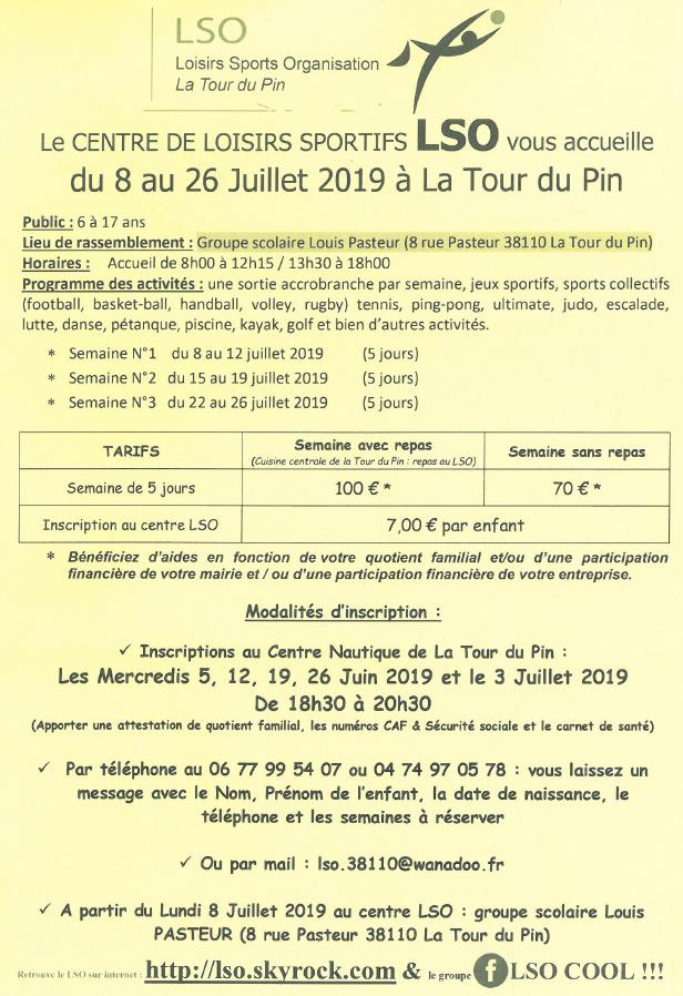 LSO, tarifs, lieu, horaires, programme, inscriptions, 2019