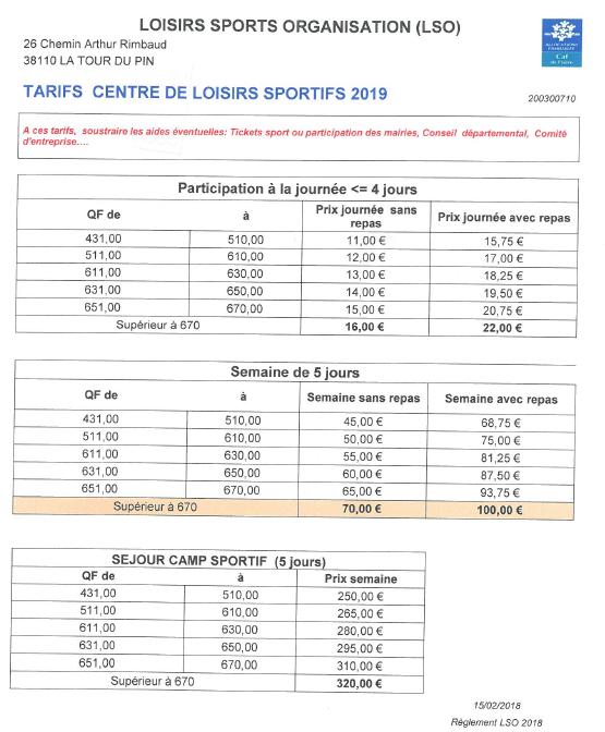 tarifs, 2019, LSO, participation, camp sportif, séjour, tickets sport,