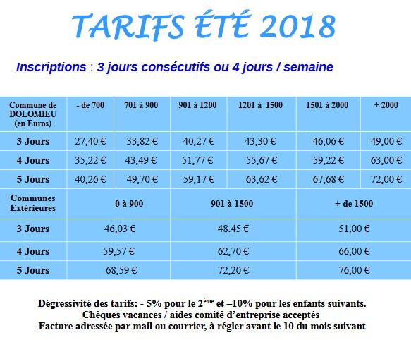 Tarifs été 2018 - Dolo'minots 3/12 ans