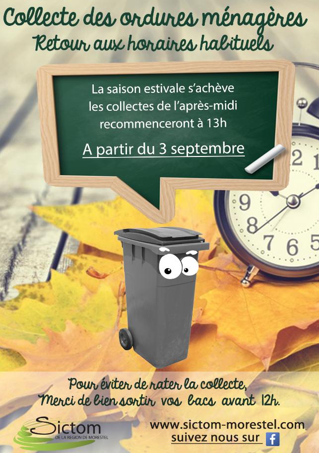 collecte ordures ménagères sictom septembre 2018 retour horaires habituels