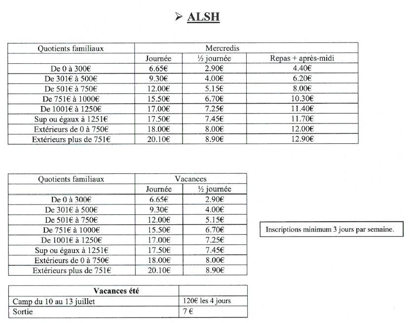 tarifs, QF, journée, 1/2 journée, repas, après-midi, ALSH, centre de loisir, enfant, vacances, dossier, inscription,centre de loisirs, planning