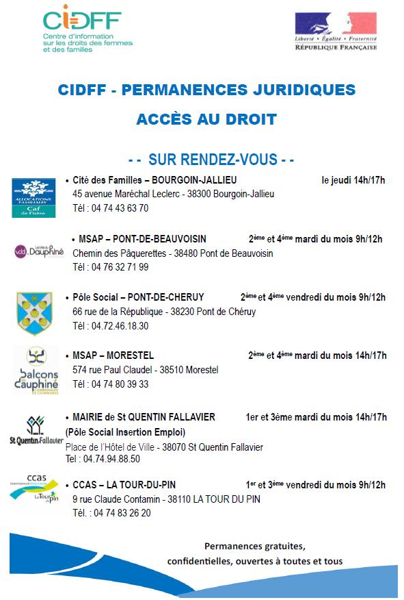 CiDFF, permanences juridiques, accès au droit, RDV
