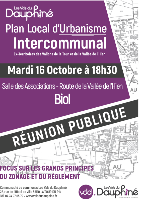 réunion publique, PLUi, plan local d'urbanisme intercommunal, zonage, règlement, VDD