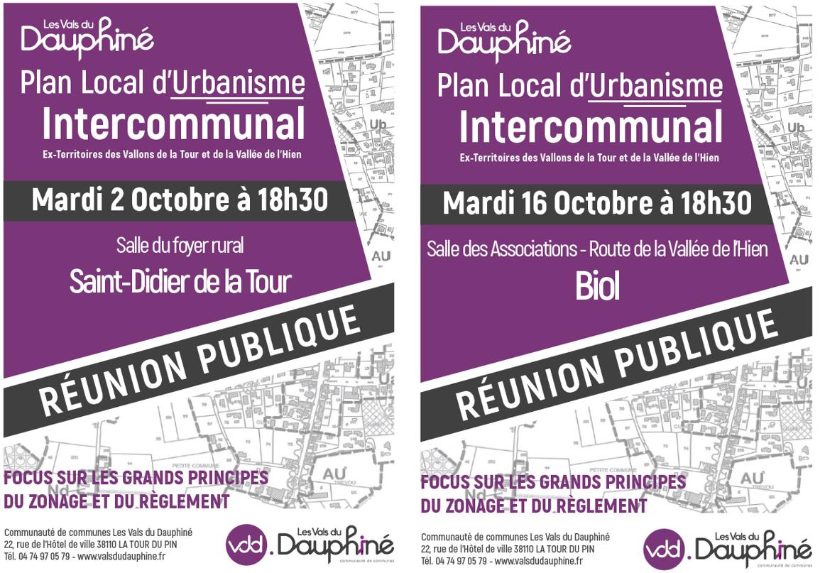 réunion publique, PLUi, plan local d'urbanisme intercommunal, zonage, règlement, VDD