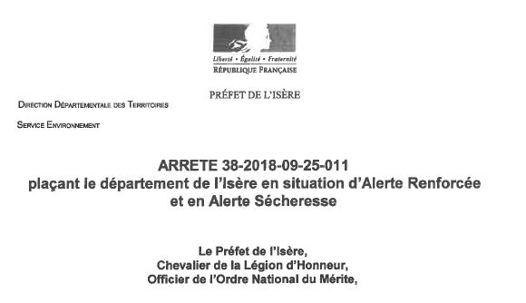 arrêté préfectoral, département de l'isère, situation d'alerte renforcée, alerte sécheresse