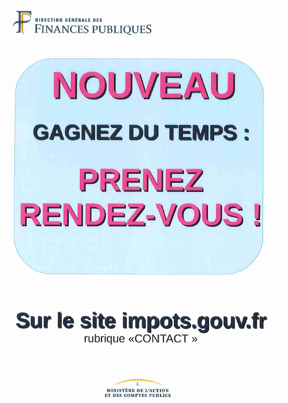 impôts, gouv.fr, gagnez du temps, nouveau, rendez-vous