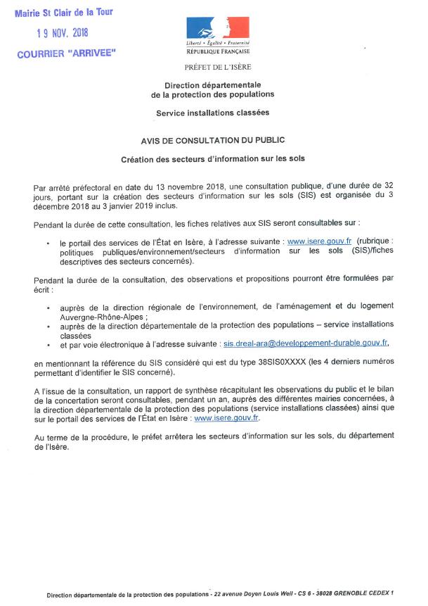 préfecture, isère, préfet, avis de consultation, public, création des secteurs d'information sur les sols