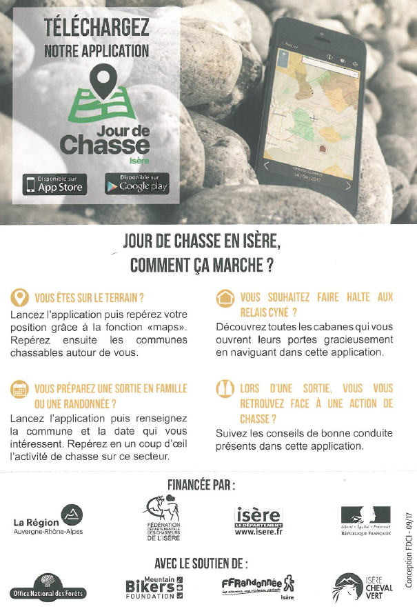 chasse, application, cartographie, isère, zones chassables, informations, conseils, GPS, chasseurs, jour de chasse