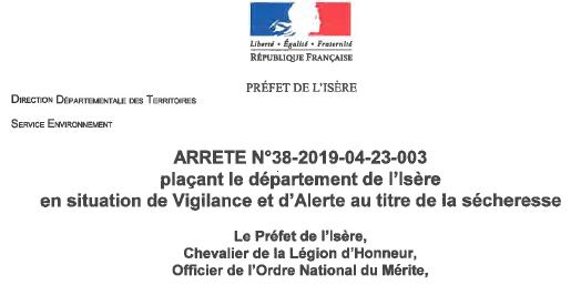 arrêté, Isère, vigilance, alerte, sécheresse, 38 2019 04 23 003, préfecture
