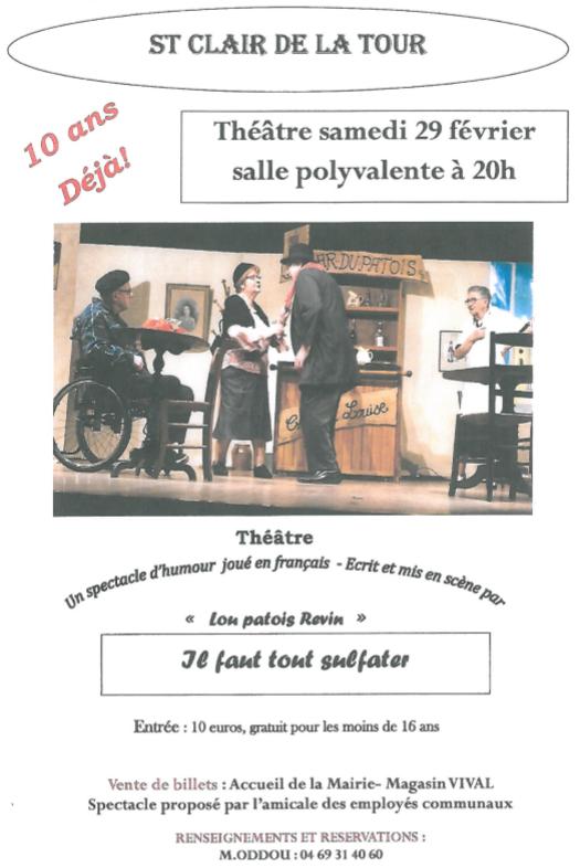 Théâtre, Lou Patois Revin, amicale des employés communaux, vente de billets, spectacle