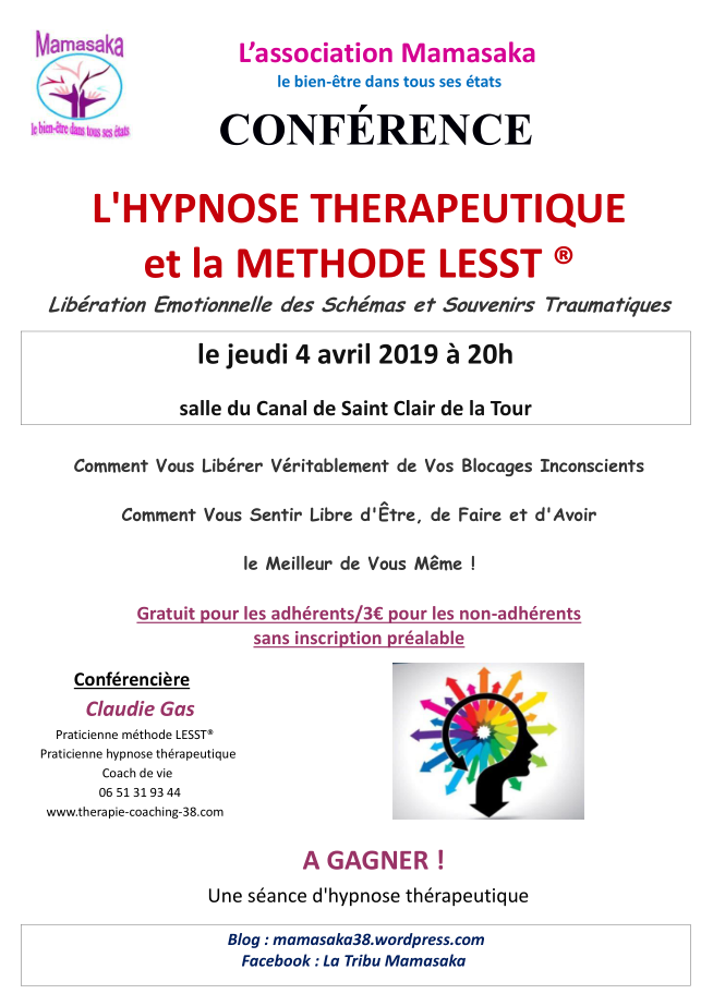 conférence, Mamasaka, hypnose, thérapeutique, méthode LESST, libération, souvenirs traumatiques, libérer