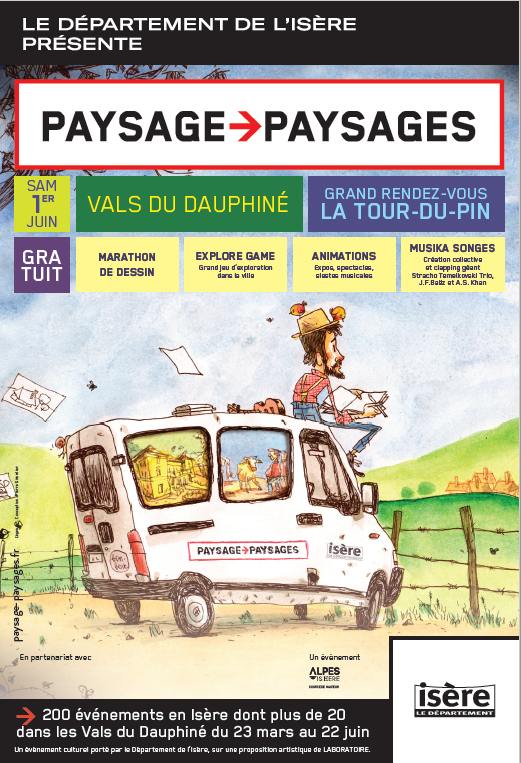 artiste, dessinateur, Ben.Bert, camion, Vals du Dauphiné, rencontre des habitants, camionnette, paysage, évènement