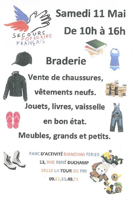 braderie, secours populaire français, livres, chaussures, vêtements, jouets, vaisselle, meuble, parc d'activité bianchini ferier