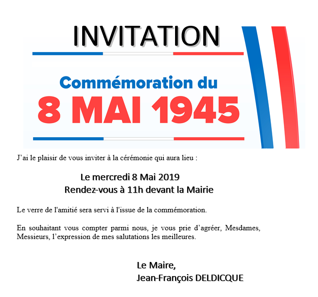 invitation, commémorative, commémoration, 8 mai, 1945