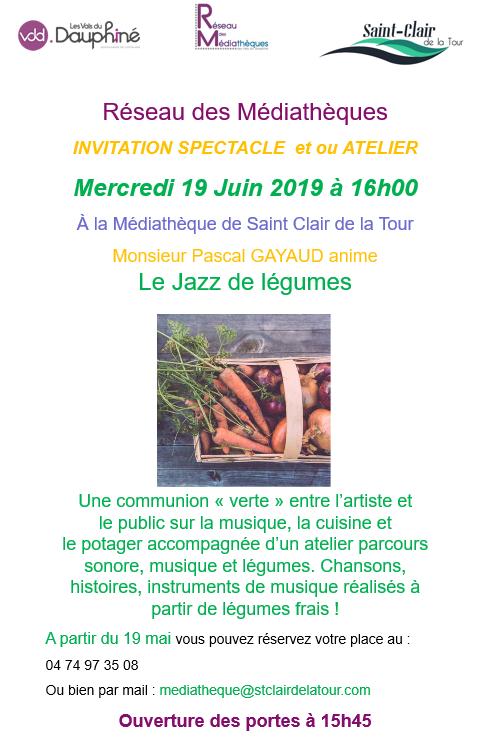 médiathèque, spectacle, atelier, Jazz, légumes, communication verte, artiste, cuisine, chansons