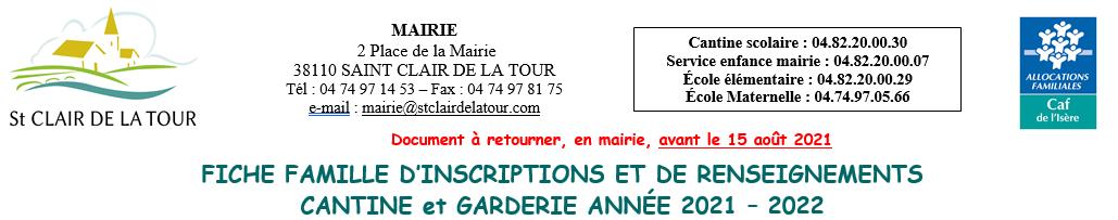 CANTINE – GARDERIE / Pré-inscriptions 2021-2022