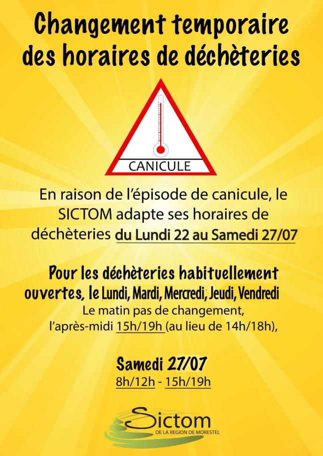 SICTOM, horaires canicule, juillet 2019, déchèteries, changement temporaire