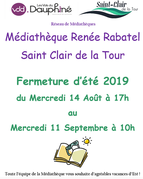 médiatèque Renée Rabatel, fermeture été 2019