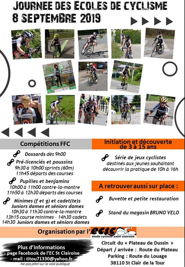 ECSC, étoile cycliste saint clairoise, journée des écoles de cyclisme, 8 septembre 2019