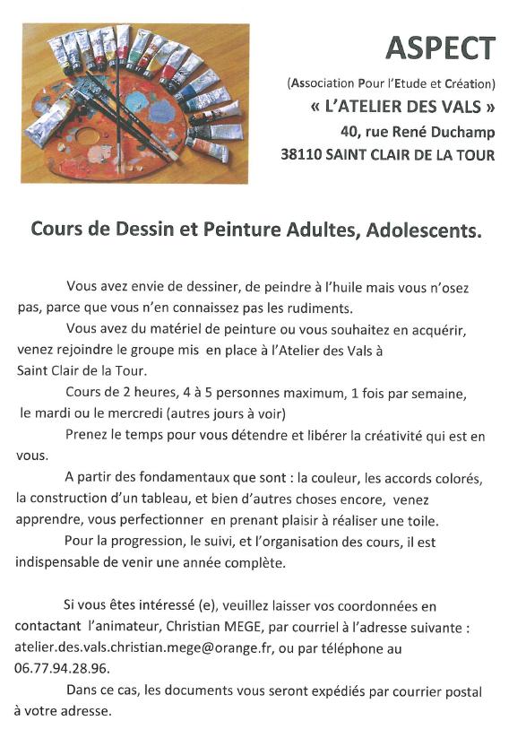 ASPECT, atelier des Vals, cours de dessin, peinture, peidre, créativité, tableau, apprendre, perfectionner, toile