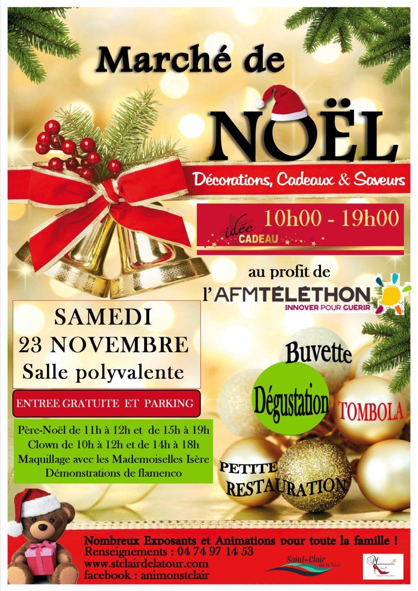 marché de Noël, décorations, cadeaux, saveurs, au profit du Téléthon, AFM TELETHON, père-noël