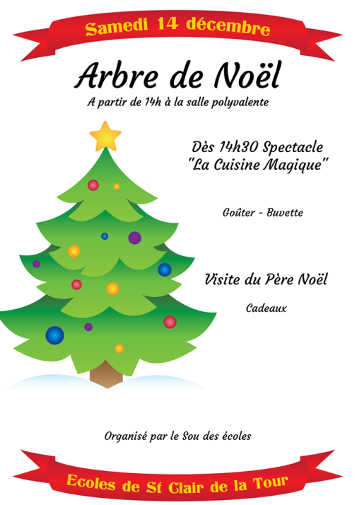 Sou des Écoles, arbre de Noël, spectacle, enfants, Père Noël, cadeaux