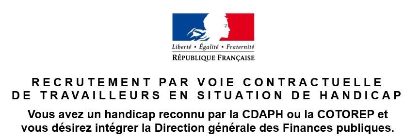 DGFiP, recrutement, voie contactuelle, travailleurs en situation de handicap, poste, direction générale des finances publiques