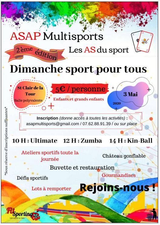 ASAP multisports, dimanche sport, défis sportifs, ateliers