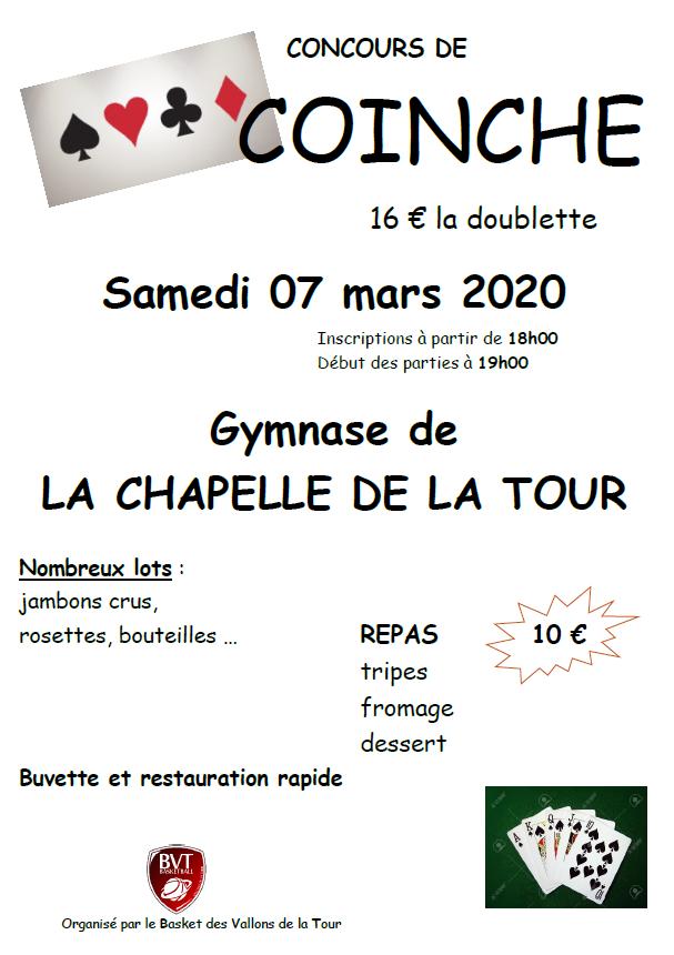 BVT, coinche, concours, gymnase de LA CHAPELLE DE LA TOUR